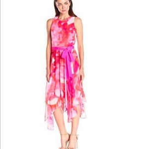 NWT-Eliza J Mid Calf Coral/Pink Floral Dress Size8
